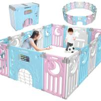 Gimars Upgrade Double Anti-Slip Design Foldable Baby Playpen Fence, 16 Panel BPA-Free Kid Activity Center ¨C Safety Play Yard with Gate for Boy Girl Toddler Infant Indoor Outdoor Pink & Blue & White