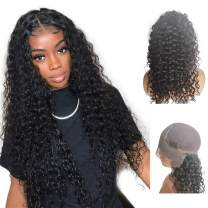 13x6 Lace Frontal Wigs For Black Women Brazilian Pre Plucked Lace Wig Glueless Deep Curly Human Hair Wigs With Baby Hair (20 Inch, 150% Density Lace Front Wig)