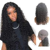 13x6 Lace Frontal Human Hair Wigs Deep Curly 150% Density For Women Natural Black Brazilian Remy Hair Wet Wavy Glueless Top Lace Wigs Pre Plucked With Baby Hair (14 Inch, 150% Density)