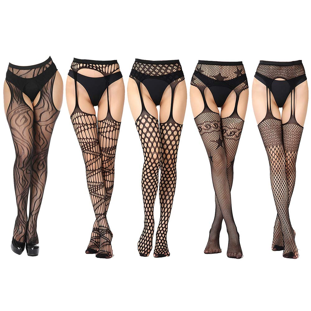 Womens Fishnet Tights Suspender Pantyhose Black Thigh-High Stockings 5 Pairs