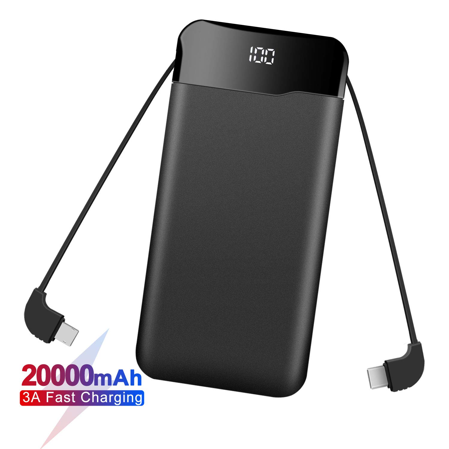 Portable Charger Power Bank 20000mAh Built in Cables Fast Charging 3A Battery Charger with Tri-Input and Four-Output,LCD Display External Battery for Smart Phone, Android, Tablet and More(Black)