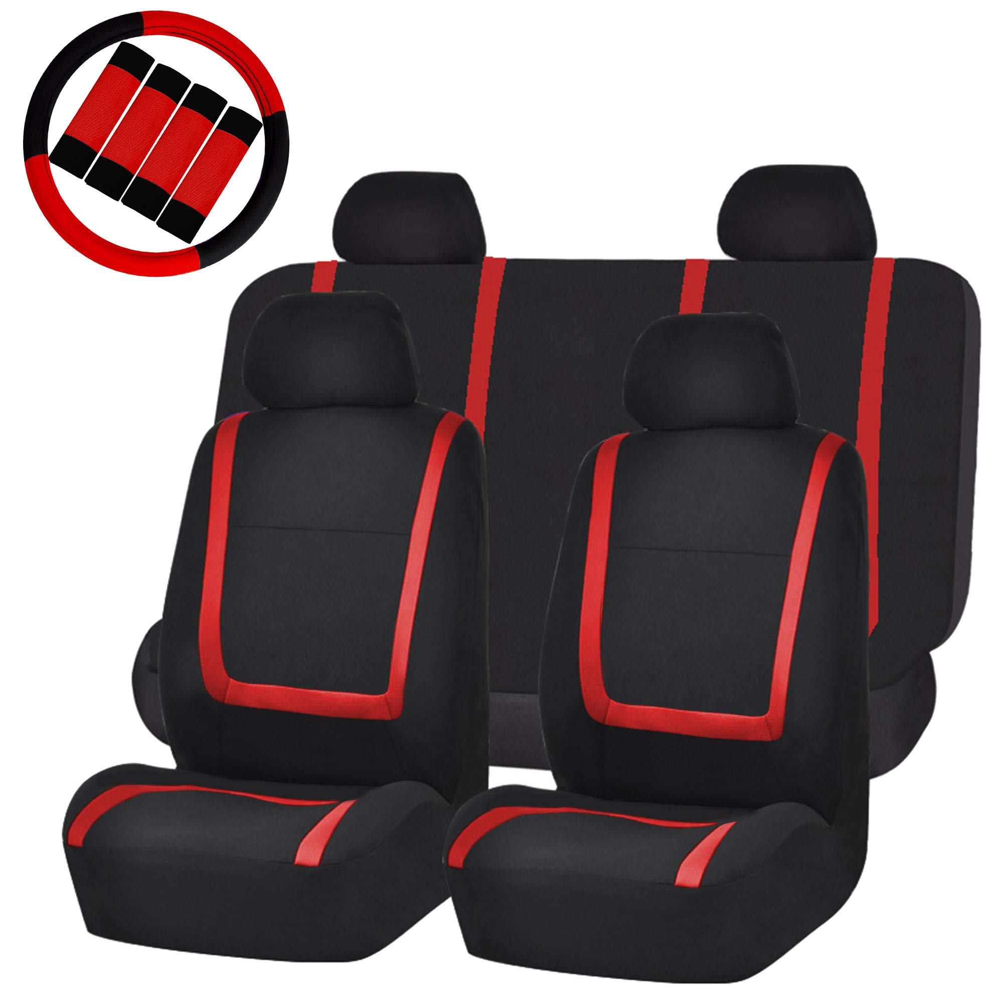 FH Group FB032114 Unique Flat Cloth Car Seat Covers w. Steering Wheel Cover and seat Belt Pads, Red/Black Color- Fit Most Car, Truck, SUV, or Van