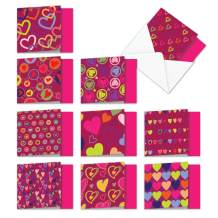 The Best Card Company - 10 Assorted Valentines Day Cards Bulk (4 x 5.12 Inch) - Boxed Gift Pack - A Lot of Heart MQ5652VDG-B1x10