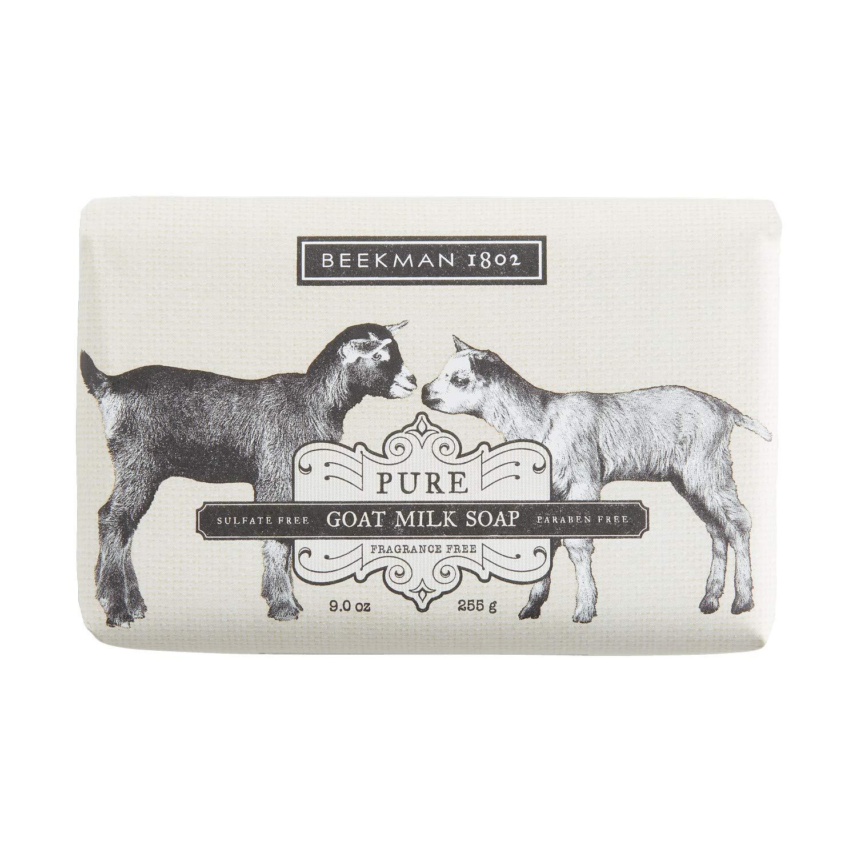 Beekman 1802 - Goat Milk Bar Soap - Moisturizing Goat Milk Cleansing Bar for Hands & Body - Rich in Exfoliating Lactic Acid, Great for Sensitive Skin - Goat Milk Bodycare - Fragrance-Free - 9 oz