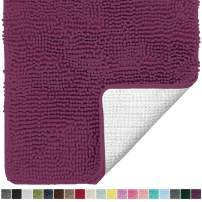 Gorilla Grip Original Luxury Chenille Bathroom Rug Mat, 60x24, Extra Soft and Absorbent Shaggy Rugs, Machine Wash Dry, Perfect Plush Carpet Mats for Tub, Shower, and Bath Room, Eggplant