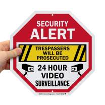 SmartSign Security Alert Sign - Trespassers Will Be Prosecuted, Video Surveillance 24 Hour Sign | 10x10 Octagon Metal, Reflective Aluminum, Outdoor/Wall/Fence