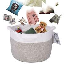 LONTAN Large 20''20''13'' Woven Storage Basket Cotton Rope Basket Round Laundry Basket - Decorative Baby Laundry Hamper Toy Blanket Basket for Dirty Clothes, Dog Toy, Towels