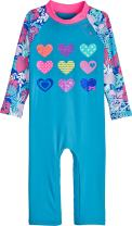 Coolibar UPF 50+ Baby Beach One-Piece Swimsuit - Sun Protective (18-24 Months- Scuba Blue Hearts)