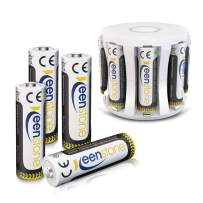 AA Rechargeable Batteries with Battery Charger, Keenstone 8 Pack 2400mAh 1.2V NiMH Batteries with AAA/AA Batteries Charger