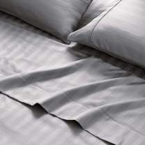 Brielle Soft Sateen Solid Striped 100% Organic Cotton Sheet Set, Queen, Grey