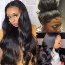 """9A Body Wave Lace Front Wigs Human Hair 13x4 Lace Front Wigs For Black Women 180% Denisty Pre Plucked Hairline Body Wave Human Hair Wigs with Baby Hair(24"""", Natural Color)"""