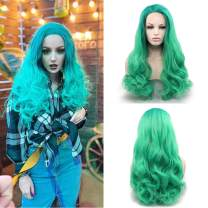 Musegetes Ombre Green Wave Synthetic Lace Front Wigs Heat Resistant For Women HS0015