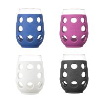 Lifefactory 17-Ounce BPA-Free Indoor and Outdoor Wine Glass 4-Pack with Protective Silicone Sleeve, Multi-Color
