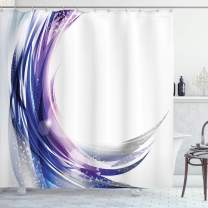 """Ambesonne Abstract Shower Curtain, Cool Wave Like Ombre Design with Vibrant Color Dots Artwork, Cloth Fabric Bathroom Decor Set with Hooks, 70"""" Long, Purple Blue"""