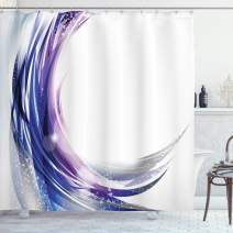 """Ambesonne Abstract Shower Curtain, Cool Wave Like Ombre Design with Vibrant Color Dots Artwork, Cloth Fabric Bathroom Decor Set with Hooks, 75"""" Long, Purple Blue"""