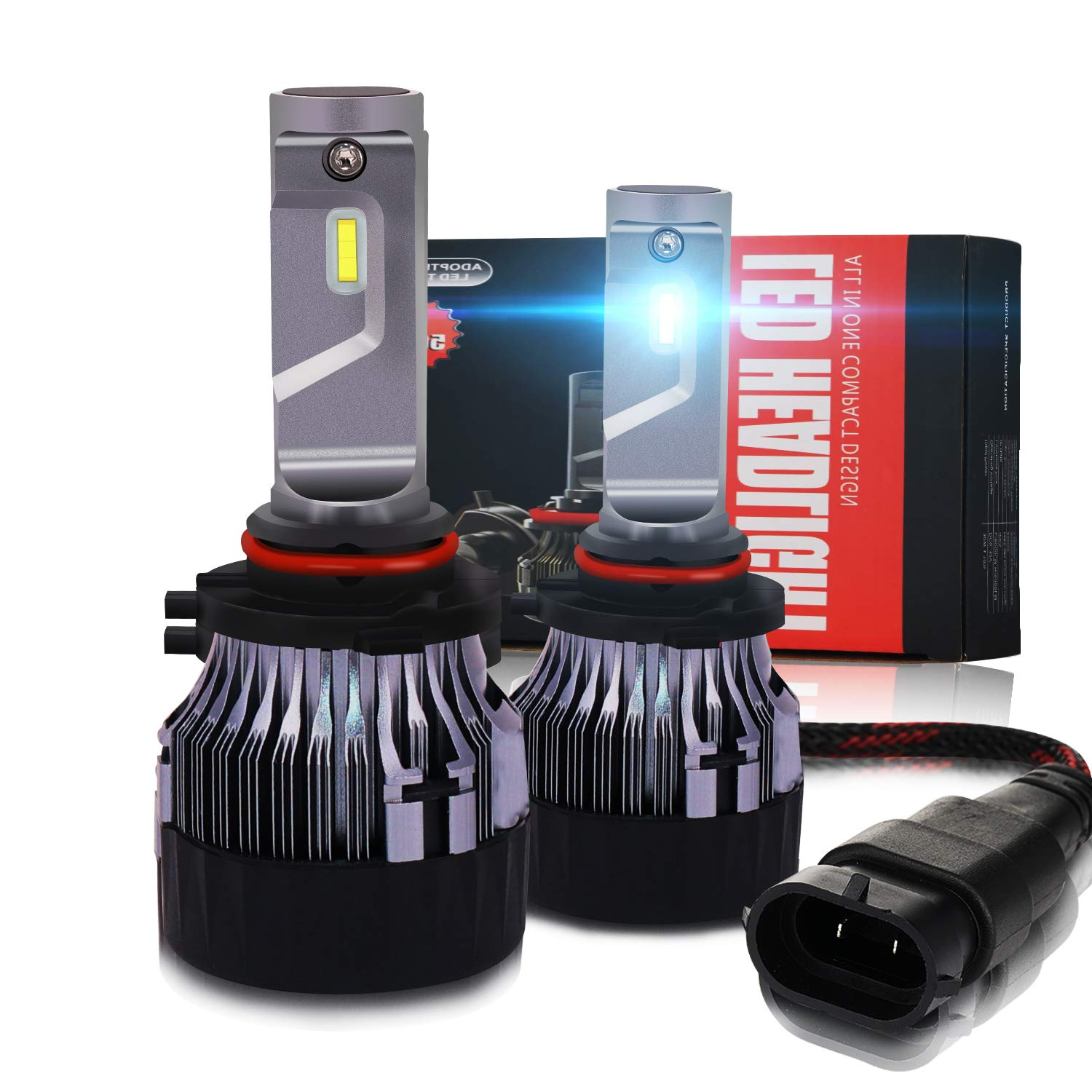 EASTBULL Newest 9005 HB3 LED Headlight Bulbs Conversion Kit CREE Chips 10000LM Extreme Super Bright IP67 LED Low/High Beam White Light All-in -one Headlamp Bulb Replacement(2 Pack)
