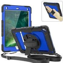 iPad Pro 9.7 Case, 360 Degrees Rotate Hand Controlling Case with Built-in Stand Screen Protector, Full-Body Shock Proof Hybrid Armor Protective Case for iPad Pro 9.7 A1673 A1674 A1675 - Blue
