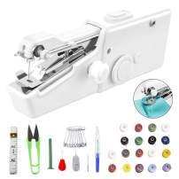 33 Pcs Handheld Sewing Machine, Mini Portable Electric Sewing Machine Cordless Stitch Quick Repairs Fabric Leather Denim Easy for Beginners Adults Teens Kids