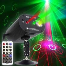 Party Lights DJ Disco Light RGB 3 Lens 36 Patterns Projector GOOLIGHT Mini LED Strobe Sound Activated Stage Lights Indoor for Birthday Parties Wedding Karaoke KTV Bar Christmas Halloween Decorations