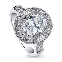 BERRICLE Rhodium Plated Sterling Silver Oval Cut Cubic Zirconia CZ Statement Halo Art Deco Milgrain Engagement Ring 2.43 CTW