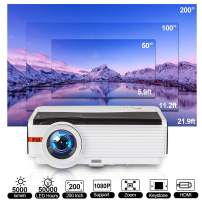 5000 Lux LCD Video Projector, Full HD 1080P Supported LED Home Cinema Multimedia Projector with Smart Phone, Laptop, PC, DVD Player, TV Stick, PS4, HDMI, UAB, VGA, AV for Outside Movie Gaming