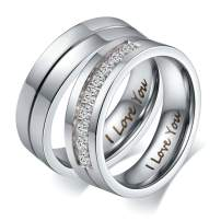 Aeici His &Hers I Love You Matching Rings Endless Love Stainless Steel Ladies Ring for Women Men Inlaid 9 CZ