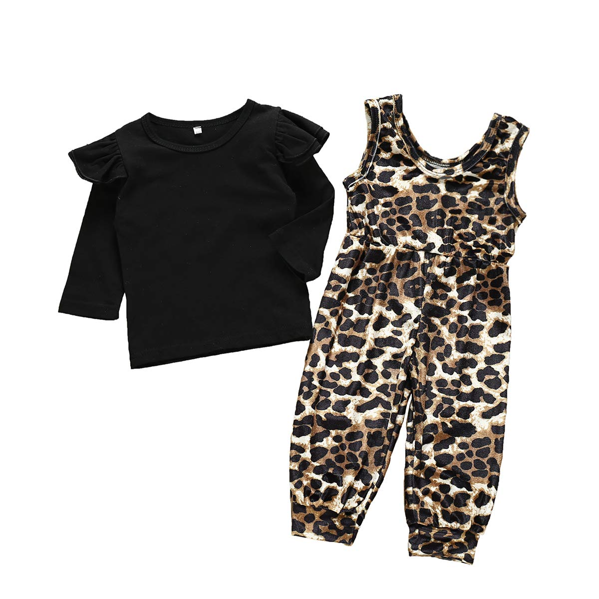 Oklady Infant Baby Girl Clothes Ruffle Sleeve Buttons Bandage T-Shirts + Flower Print Pants Sets