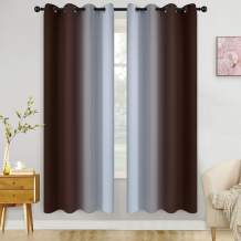 COSVIYA Grommet Ombre Room Darkening Curtains 72 inch Length 2 Panels, Brown and Grayish White Gradient Drapes Light Blocking Insulated Thermal Window Curtains for Bedroom/Living Room,52x72 inches