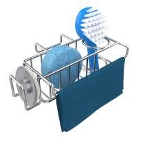 Sponge Holder for Sink, Kitchen Double Sink Caddy, Stainless Steel Dish Brush Holder, Hanging Sponge Caddy, in Sink Organizer Caddy