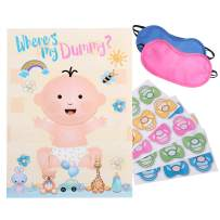 Reusable Baby Shower Games - Pin The Dummy on The Baby Game   22'' x 34'', 48 Pacifier Stickers   Baby Shower Party Favors for Gender Neutral Boy or Girl