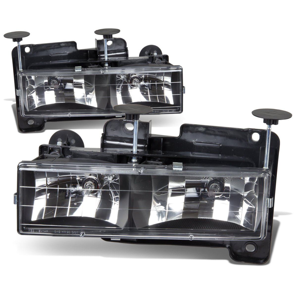 For Chevy/GMC C/K-Series 4th Gen GMT400 2-PC Lamps Black Housing Headlight/Bumper Lights Kit