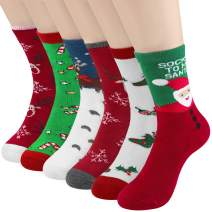 Womens Christmas Holiday Casual Socks 6 Pairs - Printed Colorful Cotton Crew Socks for Novelty Gifts