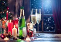 Laeacco New Year Theme Backdrop 7x5ft Vinyl Windowsill Nightscape Candlelight Dinner Champagne Glasses Gifts Outdoor Flying Snow Background New Year's Eve Party Banner Child Baby Kids Adult Shoot