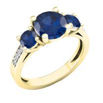 Dazzlingrock Collection 18K 7 MM Round Lab Created Gemstone & Diamond Ladies 3 Stone Ring, Yellow Gold