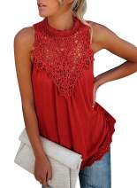 ZKESS Womens Spring Lace-Paneled Sleeveless Tops Mesh Crochet Hollow Out Flowy Lace Hem Tank Blouse Red XL 16 18