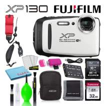 Fujifilm FinePix XP130 Waterproof Digital Camera (White) Best Value Accessory Bundle -Includes- 32GB SD Card + 16GB SD Card + Camera Case + Floating Wrist Strap + Deluxe Cleaning Kit + More