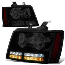 Pair of Tinted/Amber LED DRL + Turn Signal Projector Headlights Replacement for Chevy Tahoe Suburban Avalanche 07-14
