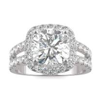 14K White Gold Moissanite by Charles & Colvard 9mm Cushion Engagement Ring, 4.24cttw DEW