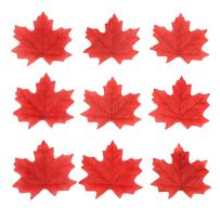 DECORA 200 Pieces Artificial Maple Leaves Fabric Fall Leaves for Autumn Party, Home and Thanksgiving Decoration(Red)