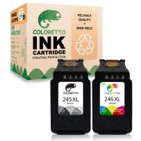 Coloretto Re-Manufactured Canon Printer Ink Cartridge 245 XL 246 XL PG-245XL CL-246XL PG-243 243 CL-244,for PIXMA MX492 MX490 IP2820 MG2420 mg2522 mg2520 TS3122 (1 Black+1Color)