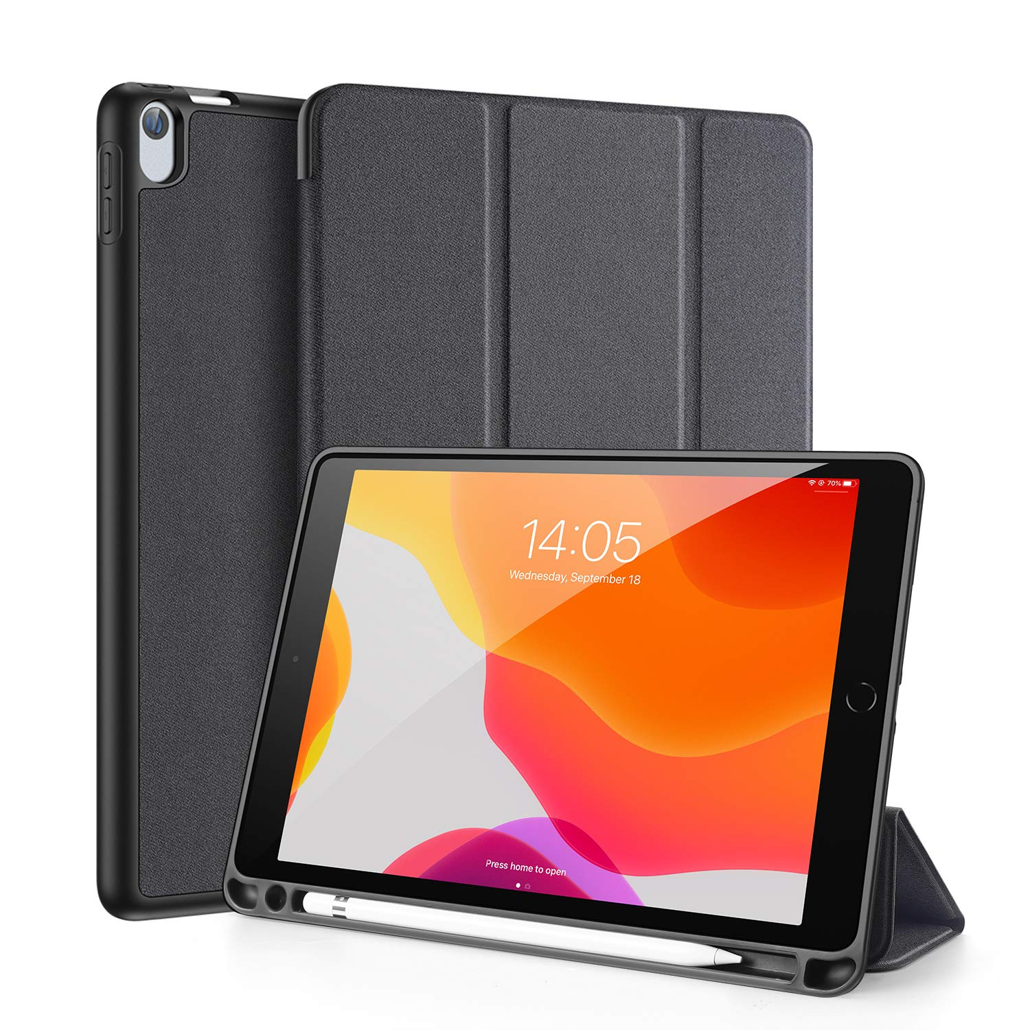 """iPad Air 3 10.5 2019 / iPad Pro 10.5 2017 Case with Pencil Holder, DUX DUCIS Soft TPU Back and Magnetic Trifold Stand Cover with Auto Sleep/Wake for iPad Air 3rd Gen 2019 / iPad Pro 10.5"""" 2017 (Black)"""