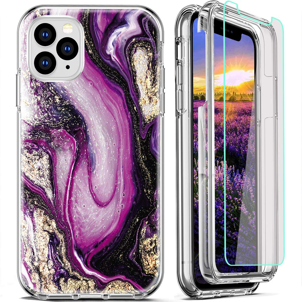 FIRMGE for iPhone 11 Pro Max Case, with [2 x Tempered Glass Screen Protector] 360 Full-Body Coverage Hard PC+Soft TPU Silicone 3 in 1 Military Grade Shockproof Phone Protective Cover Marble 05