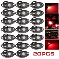 LEDMIRCY LED Rock Lights Red 20PCS Kit for JEEP Off Road Truck RZR ATV SUV Car Auto Boat High Power Neon Trail Rig Lights Waterproof Shockproof(Pack of 20,Red)