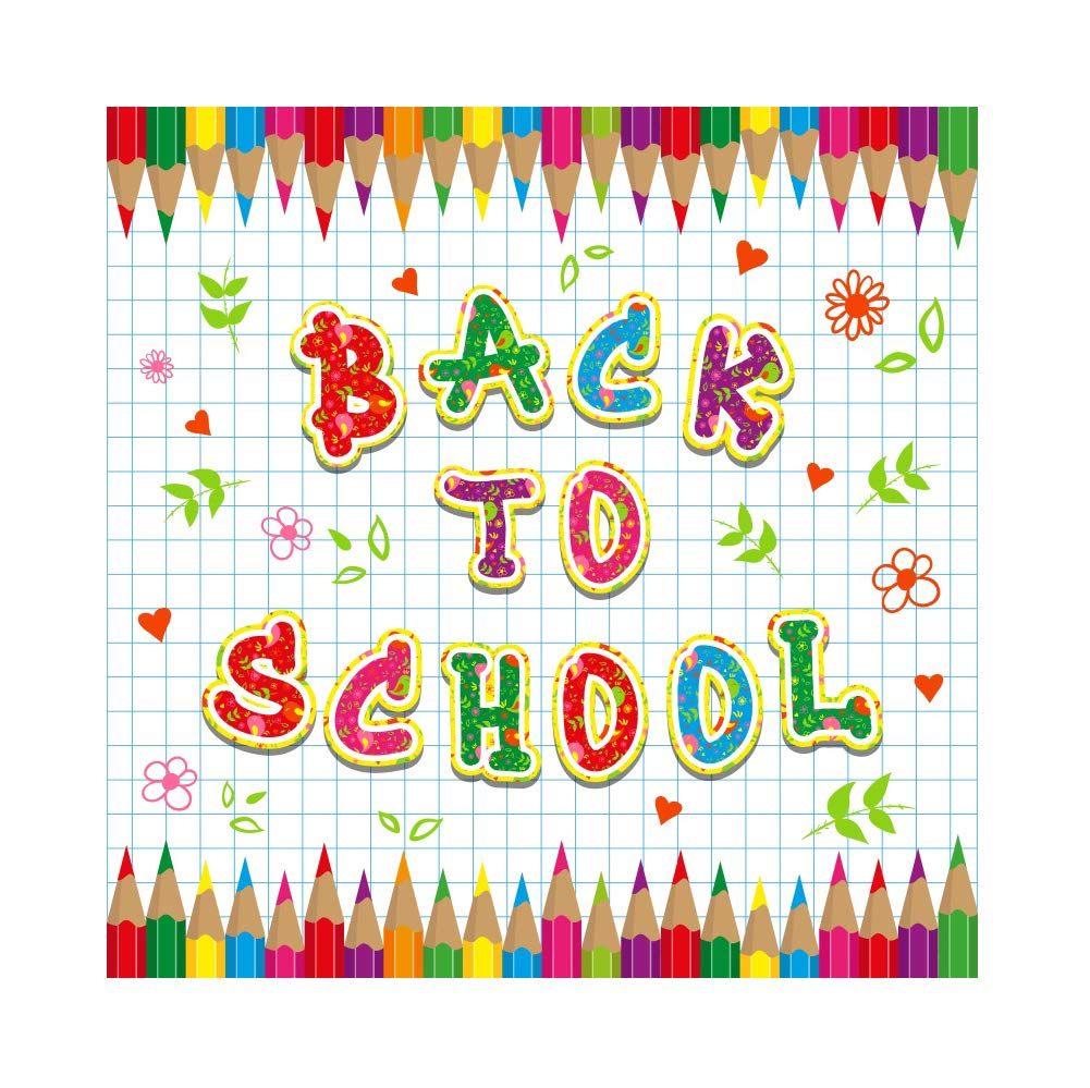 Baocicco 10x10ft Back to School Backdrop Colored Floral Crayon Photography Background Squares Background Wallpaper Decor School Opening Day Children Students Artistic Portrait Vloggers Studio Prop
