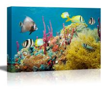 """wall26 - Canvas Prints Wall Art - Colored Underwater Marine Life in a Coral Reef with Tropical Fish, Caribbean Sea 