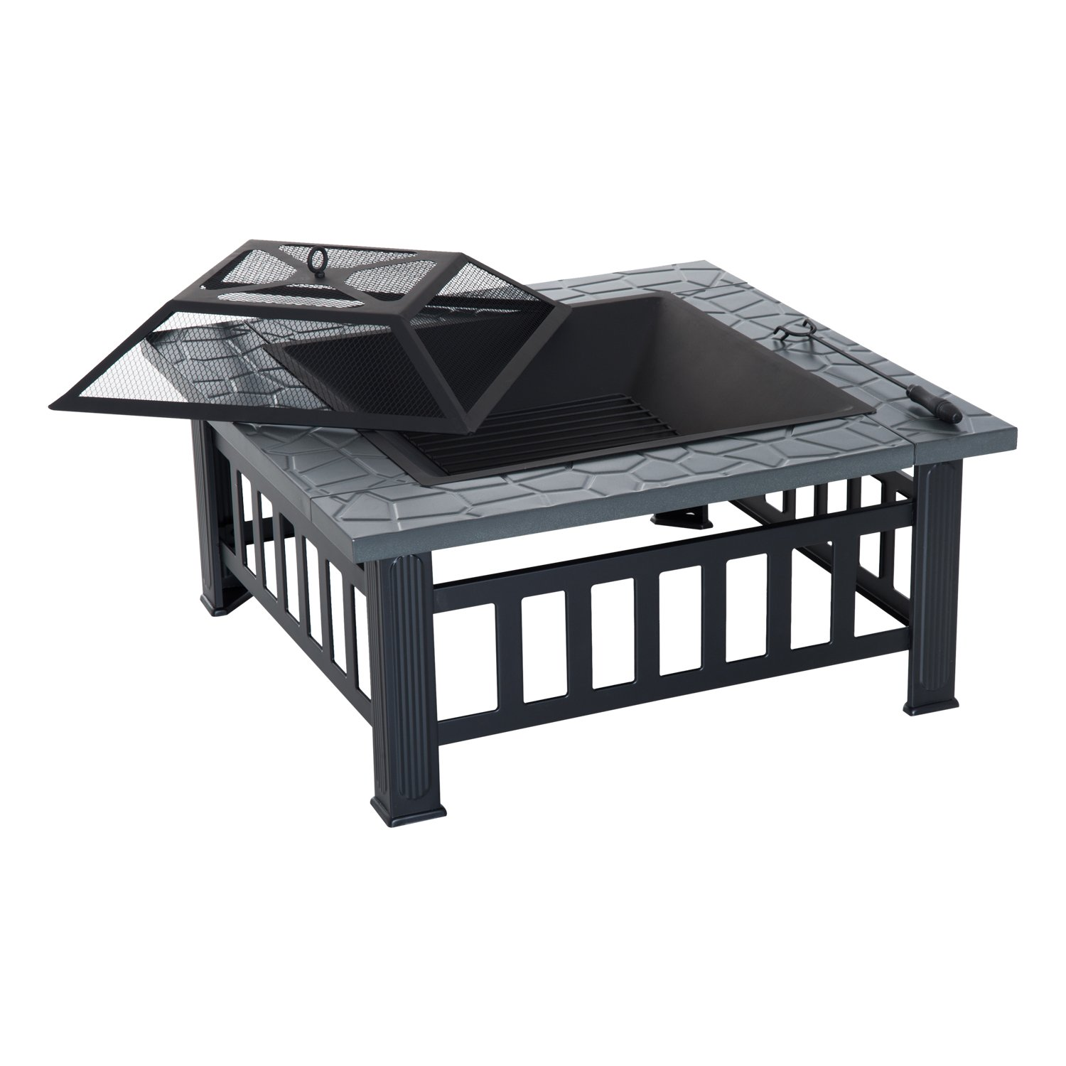 """Outsunny 32"""" Steel Square Outdoor Patio Wood Burning Fire Pit Table Top Set"""