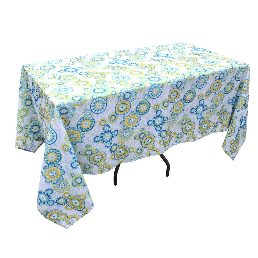 "Eternal Beauty 60 x 120"" Rectangle Tablecloth Spill Proof Polyester Printed Tablecloths for Picnic Indoor Outdoor Table(Floral Circle)"