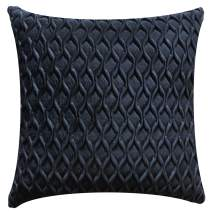 Jeanzer Cozy Velvet Square Decorative Throw Pillow Cover Case for Sofa Cushion Couch Bedroom Home Christmas Decor,18 x 18 Inches, Black (Without Pillow Insert)