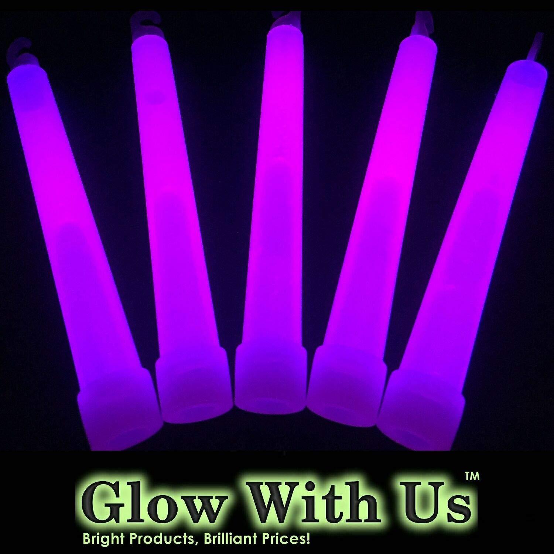 """Glow With Us Glow Sticks Bulk Wholesale, 1000 6"""" Industrial Grade Purple Light Sticks+400 Free Glow Bracelets! Bright Color, Glow 12-14 Hrs, Safety Glow Stick with 3-Year Shelf Life, Brand"""