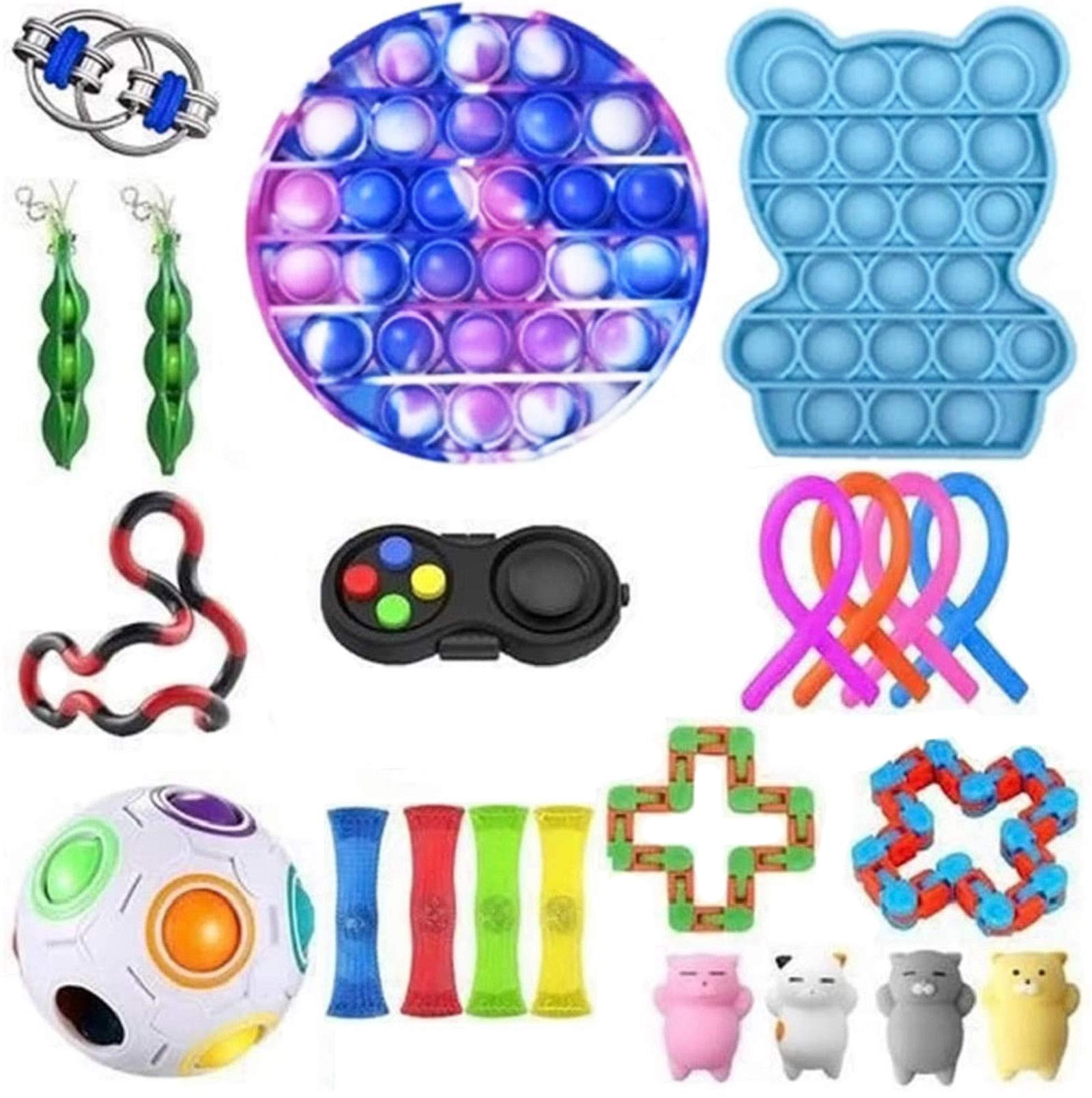 Komoo Fidget Toys Pack, Sensory Fidget Toys with Stress Ball Marble Mesh Push Pop Bubble Fidget Sensory Toy for Kids&Adults (1#)